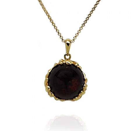 GOLD-PLATED AMBER PENDANT WITH CHAIN