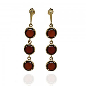 THREE AMBER DROPLETS GOLD-PLATED EARRINGS