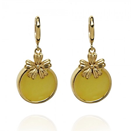 GOLD-PLATED FLOWER AMBER EARRINGS