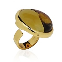 GOLD-PLATED AMBER RING ZEN