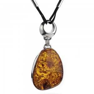 AMBER NUGGET SILVER NECKLACE