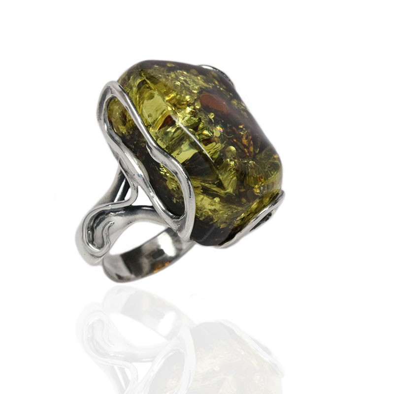 Vintage Green Amber Silver Ring Amber Rings Silver