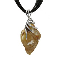 BUTTERSCOTCH AMBER SILVER NECKLACE ROCK