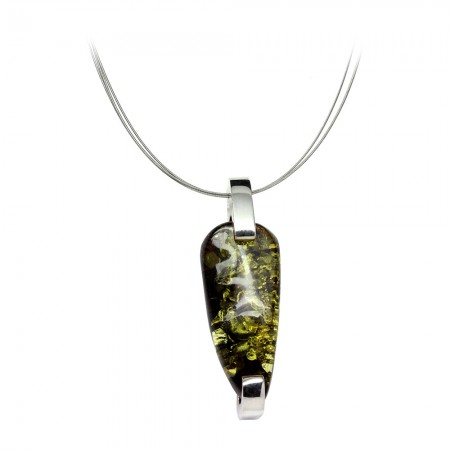 Long Forest Green Amber Silver Necklace