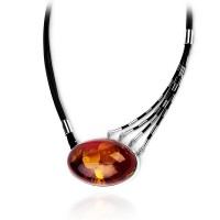 Eye Amber Silver Necklace