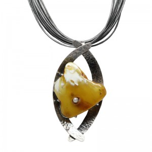 Butterscotch Amber with Pearl Silver Necklace