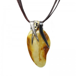 Butterscotch Amber Silver & Gold Motifs Necklace