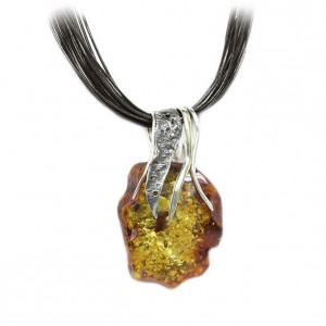 GOLDEN GREEN AMBER SILVER & GOLD MOTIFS NECKLACE