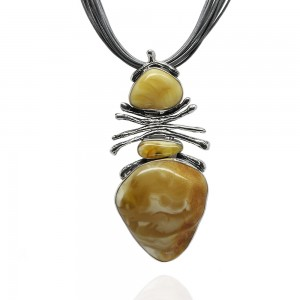 LARGE BUTTERSCOTCH AMBER SILVER NECKLACE