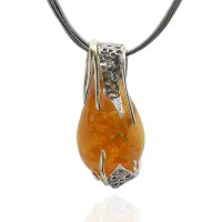 Honey Amber Silver & Gold Motifs Necklace