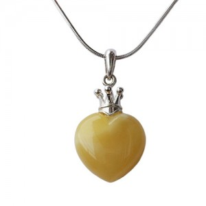 AMBER HEART SILVER CROWN NECKLACE PENDANT