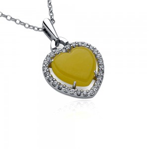 Amber Heart Swarovski Elements Silver Necklace