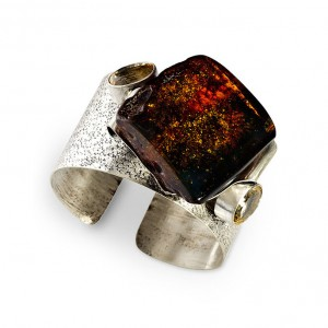 BURNING CHERRY AMBER SILVER CUFF BANGLE