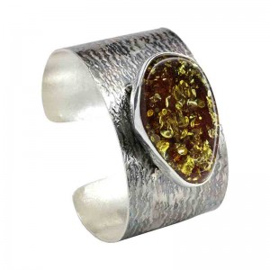 LARGE OVAL AMBER SILVER CUFF BANGLE