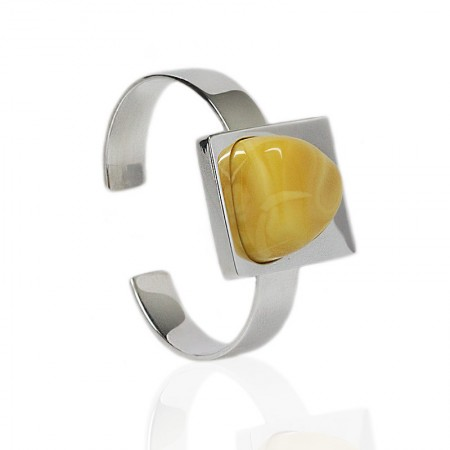Amber in Square Silver Cuff Bangle