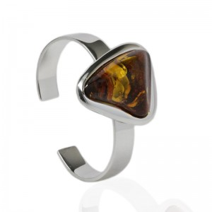 Amber in Triangle Silver Cuff Bangle