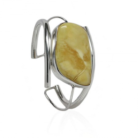 Oval Amber in Thick Twisted Silver Cuff Bangle
