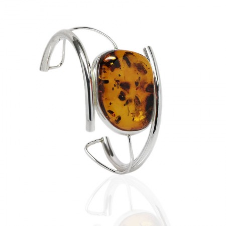 Oval Amber in Twisted Silver Cuff Bangle