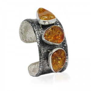 Three Cognac Amber Nuggets Silver Cuff