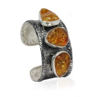 THREE COGNAC AMBER NUGGETS SILVER CUFF BANGLE