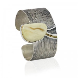 Butterscotch Amber Nugget Silver Cuff