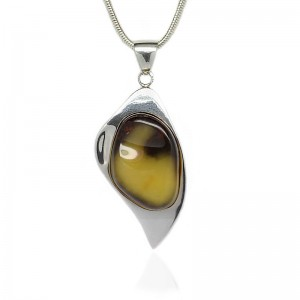 Amber in Silver Leaf Pendant