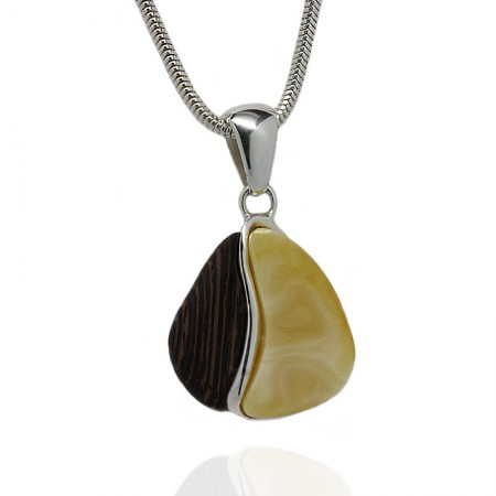 Small Entwined Amber Wenge Silver Pendant