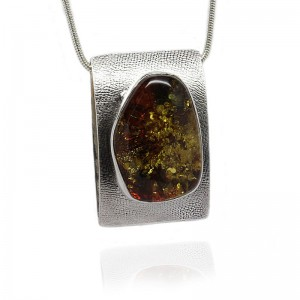 Large Oval Amber Solid Silver Pendant