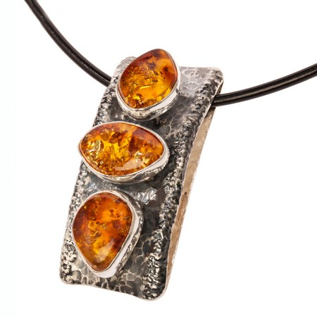 Three Cognac Amber Nuggets Silver Pendant
