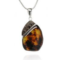 Cognac Amber with Inclusions, Wenge Silver Pendant