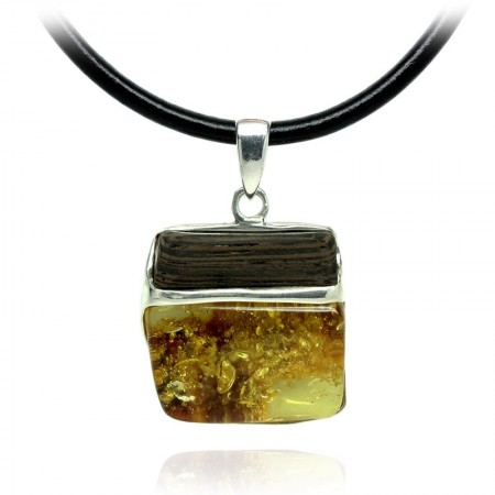 Square Amber, Wenge Silver Pendant