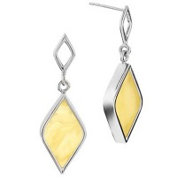 DIAMOND-SHAPE AMBER SILVER EARRINGS