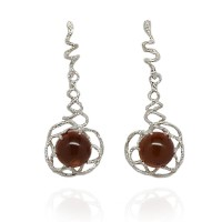 AMBER SPHERE SILVER SPIRAL EARRINGS