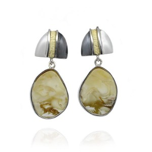 BUTTERSCOTCH AMBER DROPS AND GOLD PLATED SILVER EARRINGS