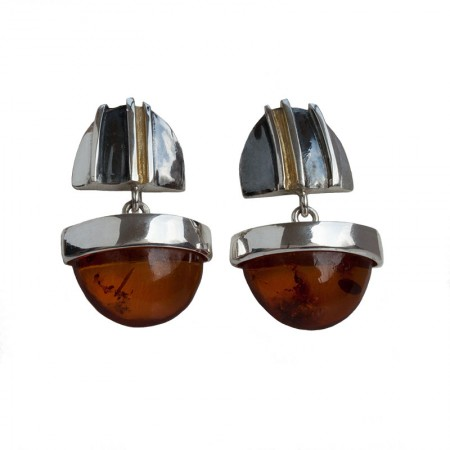 Split Duo Amber Silver Earrings