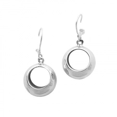 Ring Shaped Silver Earrings