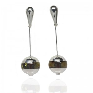 AMBER SILVER EARRINGS CHARM SPHERE