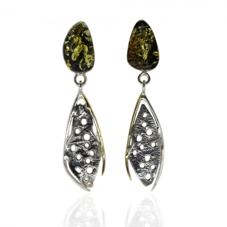 Green Amber Silver Earrings Gold Motifs