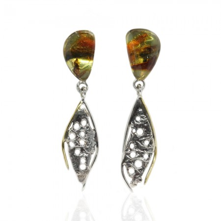 Rainbow Amber Silver Earrings