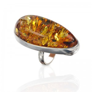 Large Golden Oval Amber Silver Ring