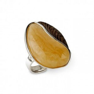 ENTWINED BUTTERSCOTCH AMBER & WENGE RING