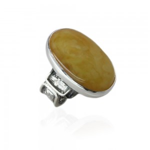 Roman Style Silver Ring with Butterscotch Amber