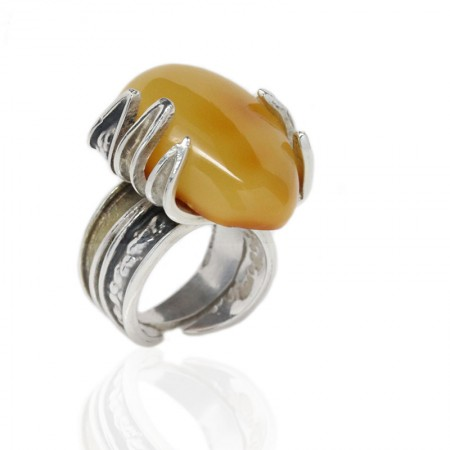 Butterscotch Amber Silver Claws Ring