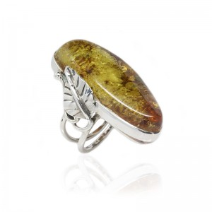 Green Amber Silver Leaf Ring