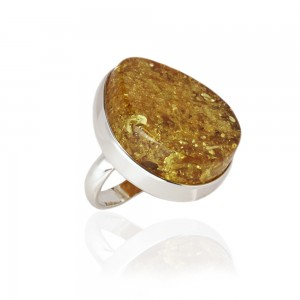 GOLDEN COGNAC AMBER SILVER RING