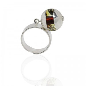 AMBER SILVER RING CHARM SPHERE