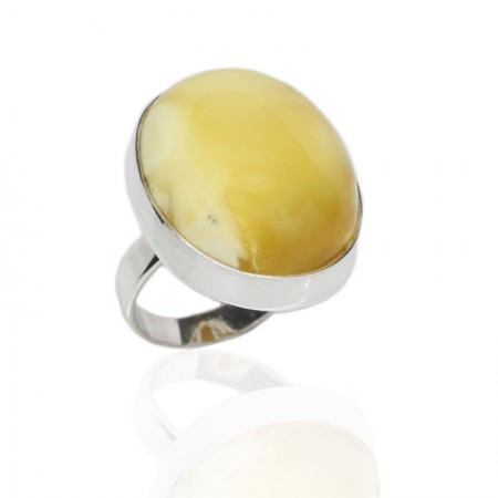 Butterscotch Amber Nugget Silver Ring