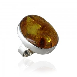 HONEY AMBER SILVER RING