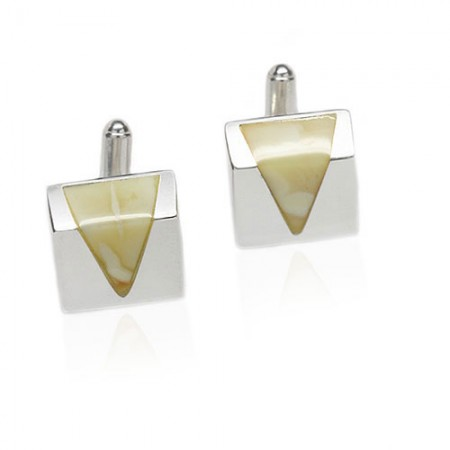 Triangle Amber Sterling Silver Cufflinks