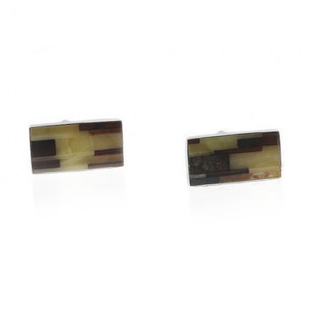 Mosaic Amber Sterling Silver Cufflinks